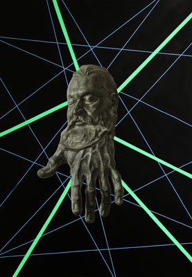 """Kopie ohne Original"", Kohle, Sprühlack auf Papier, 100x70cm, 2017"