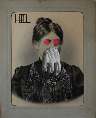 """""""Hell"""", Collage auf antiker Kohlezeichnung, 53x43cm, 2018"""