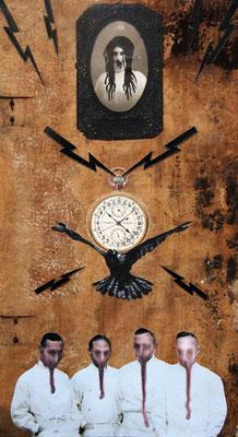 """""""Der diagnostische Fick"""", Malerei, Collage auf Buchdeckel aus Holz, 36x20cm, 2014"""