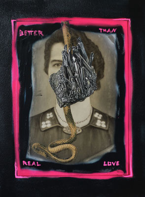 """Better than real love"", Collage auf antiker Kohlezeichnung, 54x37cm, 2018"