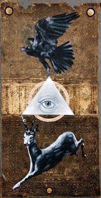 """Never be real"", Malerei, Collage auf Ledereinband, ca. 45x23cm, 2014"