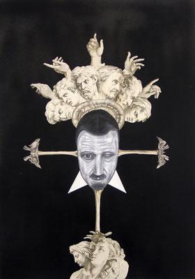 """""""Die Wüste wächst"""", Öl auf Leinwand, Stahlstich und Kupferstich, Sprühlack auf Papier, 70x50cm, 2015"""