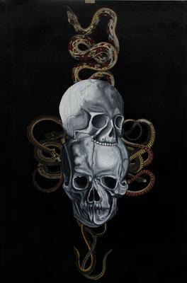 """""""Slow (Missbrauch an der Überlieferung)"""", Öl auf Leinwand, Kupferstich, Sprühlack auf Papier, 54x34cm, 2014"""