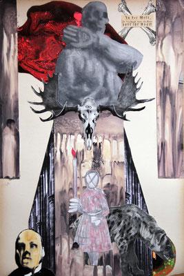 """""""In der Welt habt ihr Angst/In der Angst habt ihr Welt"""", 48cm x 32cm, Collage, Malerei, 2013"""