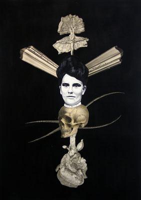 """""""Gehe mir einfach aus dem Nichts"""", Öl auf Leinwand, Lithographie, Kupferstich, Stahlstich, Sprühlack auf Papier, 70x50cm, 2015"""