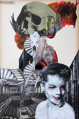 """""""Der Satz vom zu Grunde gehen (Ähnliches Leid)"""", Collage, Malerei, Sprühlack, 48x32cm, 2013"""