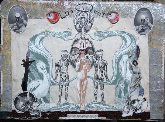 """""""Log Out (Man muss auch darüber sprechen)"""", Collage, Malerei ca. 32,5x44,8cm, 2012"""