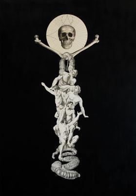 """""""Dauer"""", Kupferstich, Stahlstich, Lithographie, technische Zeichnung, Sprühlack auf Papier, 100x70cm, 2015"""