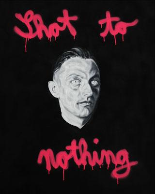 """Shot to nothing"", Öl, Sprühfarbe auf Leinwand, 100x80cm, 2018"