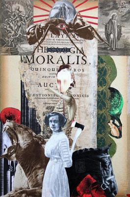 """""""Der innere Ausbau ( Downfall moralis)"""", Collage, Malerei, Sprühlack, 49x33cm, 2013"""
