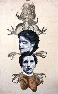 """""""Off (Stunde Null)"""", Malerei, Collage auf Papier, 54x34cm, 2014"""