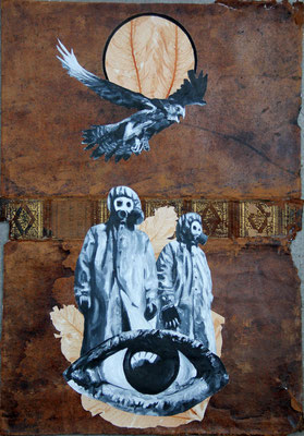 """""""Taraaa: Beautyful Traumata"""", Malerei, Collage auf Ledereinband, ca. 50x35cm, 2014"""