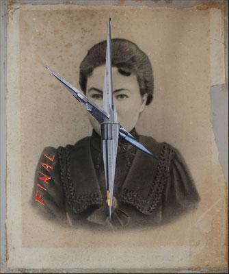 """""""Final"""", Collage auf antiker Kohlezeichnung, 51x42cm, 2019"""