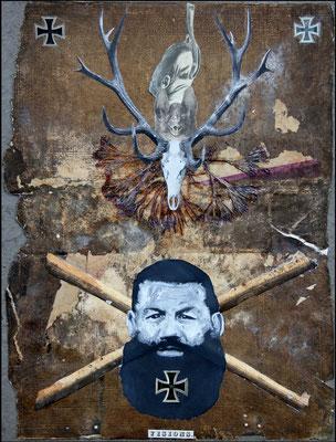 """""""Visions (Das eisern Entzogende)"""", Malerei, Collage auf Ledereinband, ca. 49x34cm, 2013"""