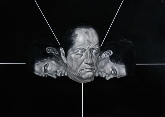 """Langsamer Sturz"", Öl, Kohle, Acryl und Sprühlack auf Papier, 50x70cm, 2016"