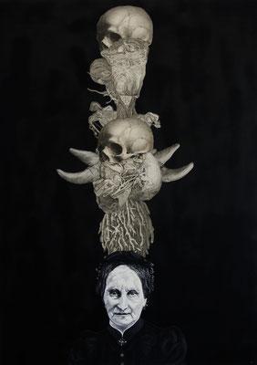 """""""Widerwelt (Fütterung der Nacht)"""", Öl auf Leinwand, Stahlstich, Kupferstich, Sprühlack auf Papier, 100x70cm, 2015"""