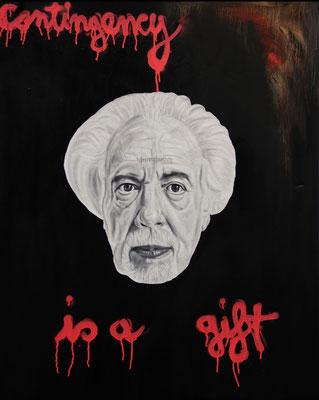 """""""Contingency is a gift"""", Öl, Sprühfarbe auf Leinwand, 100x80cm, 2017"""