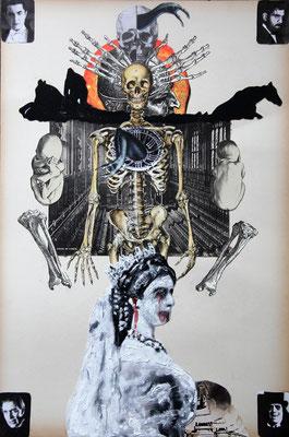 """Backdoor crime (Auf den Spuk folgt der Spaß)"", Collage, Malerei, Sprühlack, 49x33cm, 2013"