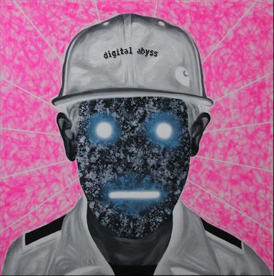 """Digital Abyss"", Öl, Acryl auf Leinwand, 50x60cm, 2020"