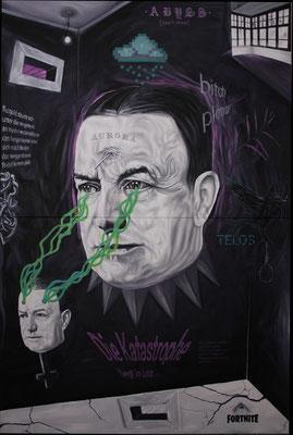 """Telos"", Öl, Sprühfarbe auf Leinwand, 240x160cm, 2020"