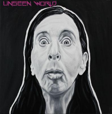 """Unseen world"", Öl, Sprühfarbe auf Leinwand, 50x50cm, 2018"