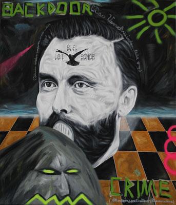 """""""Backdoor crime"""", Öl, Sprühfarbe auf Leinwand, 160x120cm, 2019"""