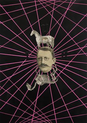 """""""run (Das tiefere Wesen des Menschen ist die Flucht)"""", Acryl, Bleistift, Kupferstich, Leinwand, Sprühlack auf Papier, 70x50cm, 2015"""