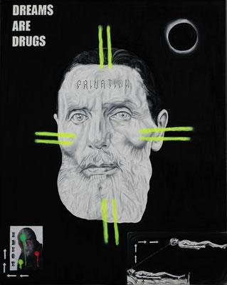 """Dreams are drugs"", Öl, Sprühfarbe auf Leinwand, 150x120cm, 2019"