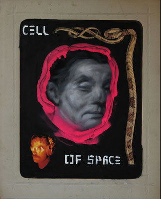 """Cell of space"", Collage auf antiker Kohlezeichnung, 54x42cm, 2019"