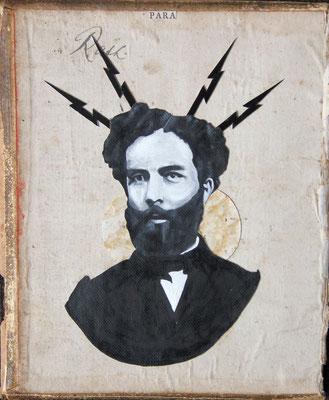 """""""Para"""", Malerei, Collage auf Buchdeckel aus Holz , 22,5x18,5cm, 2014"""