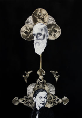 """""""Sakkade"""", Öl auf Leinwand, Stahlstich, Lithographie, Sprühlack auf Papier, 70x50cm"""