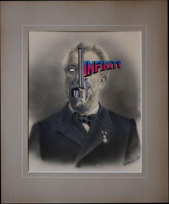 """""""Infinity"""", Collage auf antiker Kohlezeichnung, 53x43cm, 2019"""