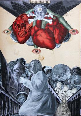 """""""Herzschwanger (Alle Rahmen krachen)"""", Collage, Malerei, Sprühlack ca. 44,4x31,8cm, 2012"""