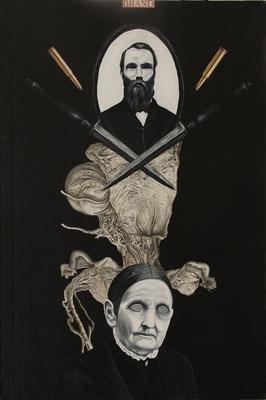 """""""Harter Stoff (Gelungene Aneignung)"""", Öl auf Leinwand, Kupferstich, Sprühlack auf Pappeinband, 55x36,5cm, 2014"""