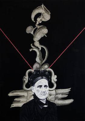 """""""Pharmakon"""", Öl auf Leinwand, Acryl, Kupferstich, Sprühlack auf Papier, 70x50cm, 2015"""