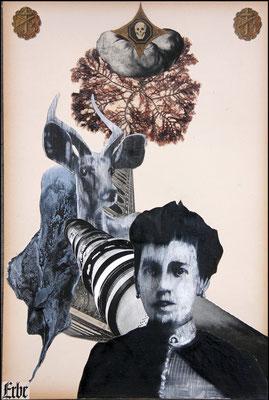 """""""Erbe (In den Verstrickungen der Herkunft)"""", Malerei, Collage, 48x32cm, 2013"""