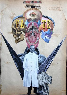 """""""Fate (Vergiß mein nit)"""", Collage, Malerei, Sprühlack ca. 44,4x31,8cm, 2012"""