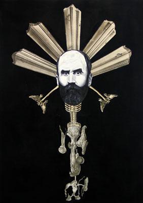 """""""Die verloren gegangene Totale"""", Öl auf Leinwand, Lithographie, Kupferstich, Stahlstich, Sprühlack auf Papier, 70x50cm, 2015"""