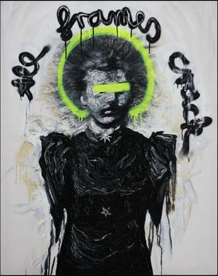 """All frames crack"", Öl, Sprühfarbe auf Leinwand, 100x80cm, 2018"