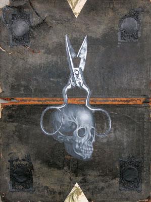 """""""Frisches Blut für alte Wunden"""", Malerei, Collage auf Ledereinband  , ca. 49x37cm, 2014"""