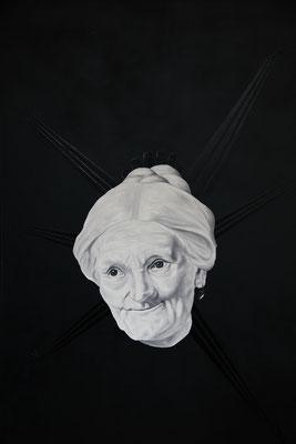 """""""Sinnfiktion"""", Öl, Sprühlack auf Leinwand, 120x80cm, 2017"""