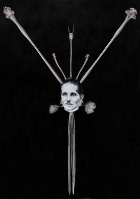 """""""Conatus"""", Öl auf Leinwand, Stahlstich, Lithographie, Kupferstich, Sprühlack,  auf Papier , 70x50cm, 2015"""