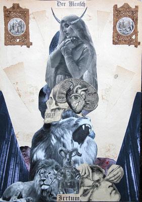 """""""Der Mensch (Irrturm)"""", Collage, ca. 44,4x31,8cm, 2012"""