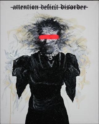 """Disorder"", Öl, Sprühfarbe auf Leinwand, 100x80cm, 2018"