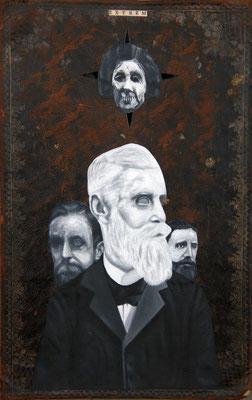 """""""Maske muss sein"""", Malerei, Collage auf Ledereinband, 35x23cm, 2014"""
