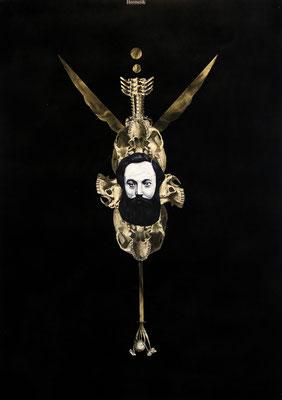 """""""Hermetik"""", Öl auf Leinwand, Kupferstich, Stahlstich, Sprühlack auf Papier, 70x50cm, 2014"""