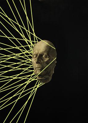 """""""Neongrab3"""", Kohle, Öl und Sprühfarbe auf Papier, 70x50cm, 2017"""
