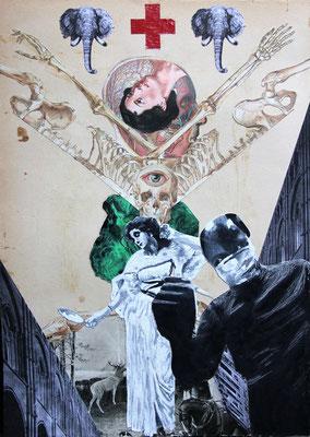 """""""So oder so, das wahre Wesen des Lebens bleibt unerkannt"""", Collage, Malerei, Sprühlack ca. 44,4x31,8cm, 2013"""