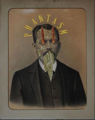 """""""Phantasm"""", Collage auf antiker Kohlezeichnung, 53x43cm, 2019"""