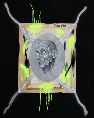 """Hyper 666"", Öl, Pappe, Sprühfarbe auf Leinwand, 100x80cm, 2018"